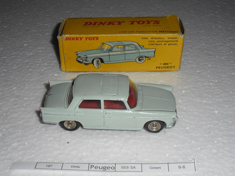 french dinky peugeot 404 no 553 excellent original car extremely rare made for south african. Black Bedroom Furniture Sets. Home Design Ideas
